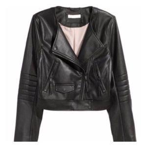 Faux Leather Short Biker Jacket